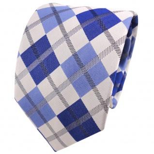 TigerTie Seidenkrawatte blau hellblau silber schwarz kariert - Krawatte Seide