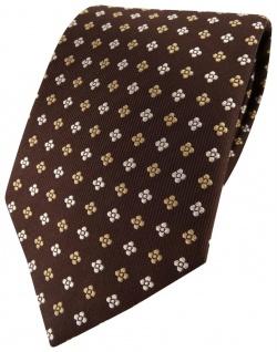 Designer Seidenkrawatte braun gold silber gepunktet - Krawatte 100% Seide Silk