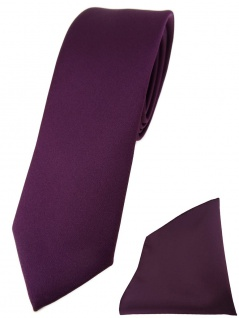 schmale TigerTie Designer Krawatte + Einstecktuch bordeauxviolett einfarbig uni
