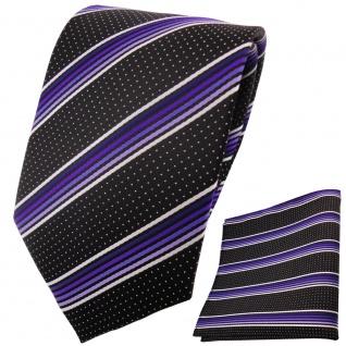 TigerTie Designer Krawatte+Einstecktuch lilaflieder silberweiss schwarzgestreift