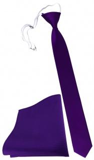 XXL TigerTie Sicherheits Krawatte + Einstecktuch lila violett einfarbig Uni Rips - Vorschau 1