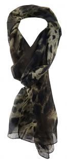 TigerTie Unisex Chiffon Schal in beige dunkelbraun schwarz grau Leoparden Muster