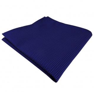schönes Einstecktuch blau ultramarin schwarz gemustert - Tuch Polyester