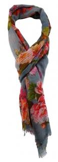 TigerTie Schal in rot rosa grau grün orange gelb braun schwarz Blumenmuster