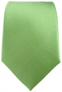 TigerTie Satin Seidenkrawatte in grün hellgrün Uni - Krawatte 100 % Seide - Vorschau 2