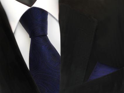 schöne TigerTie Seidenkrawatte + Einstecktuch dunkelblau marin schwarz paisley