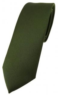 schmale TigerTie Designer Krawatte in olivegrün einfarbig Uni - Tie Schlips