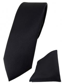 schmale TigerTie Designer Krawatte + Einstecktuch in schwarz einfarbig uni