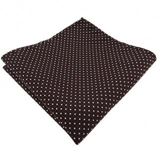 TigerTie Einstecktuch braun dunkelbraun silber gepunktet - Tuch 100% Polyester