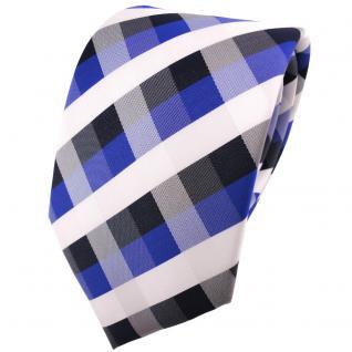 schöne TigerTie Krawatte in blau royal kobaltblau weiß kariert - Binder Tie