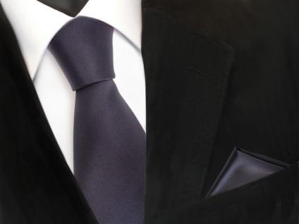 TigerTie Krawatte + Einstecktuch anthrazit dunkelgrau uni - Binder Tie Polyester