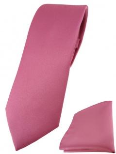 schmale TigerTie Designer Krawatte + Einstecktuch in hellpink einfarbig uni