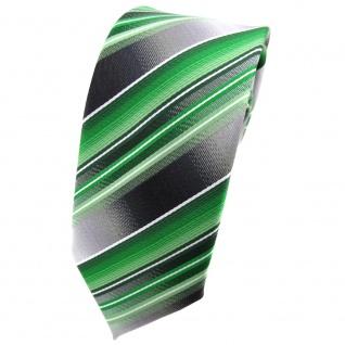schmale TigerTie Krawatte grün silber anthrazit hellgrau gestreift - Tie Binder