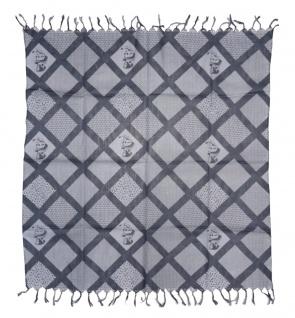 Halstuch grau anthrazit blaustich Motiv Zylinder-Totenkopf gemustert mit Fransen