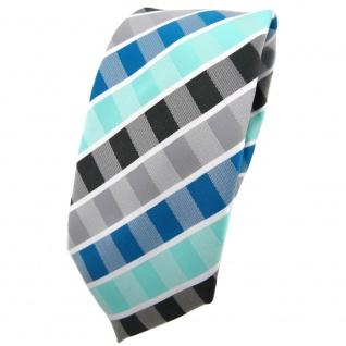 Schmale TigerTie Krawatte türkis mint wasserblau grau anthrazit weiß gestreift