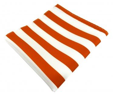 TigerTie Einstecktuch in orange weiss gestreift - Stecktuchgröße 30 x 30 cm