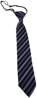 TigerTie Sicherheits Krawatte anthrazit schwarz gestreift - vorgebunden Gummizug