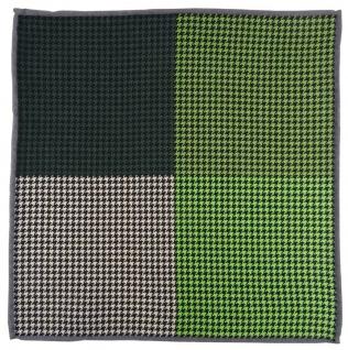 Multi Einstecktuch in grün tannengrün beige schwarz gemustert - 100% Wolle
