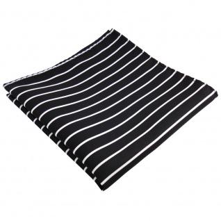 schönes Designer Einstecktuch in schwarz silber weiß gestreift - Tuch Polyester