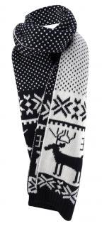 Strickschal schwarz weiss Rentier Motiv - beidseitig tragbar - Schal 27 x 190 cm