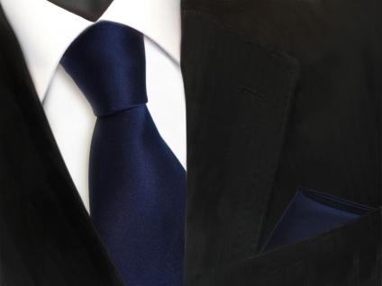 TigerTie Krawatte + Einstecktuch in marine blau dunkelblau uni - Binder Tie