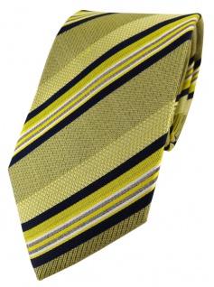 TigerTie Designer Seidenkrawatte in gelb schwarz silber weiss gestreift