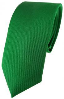 schmale TigerTie Seidenkrawatte grün einfarbig rips struktur - 100% reine Seide