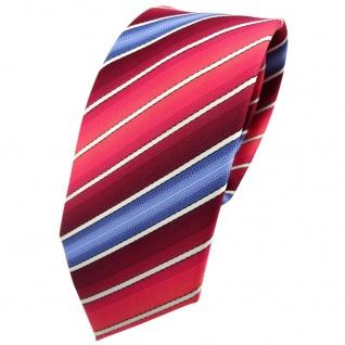 Schmale TigerTie Krawatte rot bordeaux rosé blau creme gestreift - Tie Binder