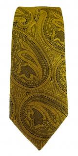 TigerTie - schmale Designer Krawatte in gold schwarz Paisley gemustert - Vorschau 2