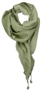 Damen Halstuch Dreieckstuch in olive Uni Gr. 160 x 75 cm - Tuch Schal Baumwolle
