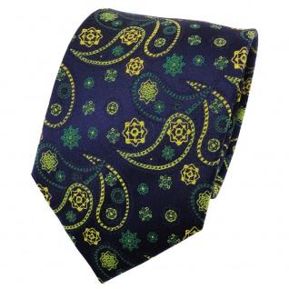 TigerTie Satin Seidenkrawatte grün gelb dunkelblau Paisley - Krawatte Seide