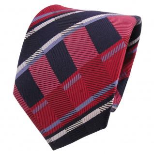 TigerTie Designer Seidenkrawatte rot blau silber gestreift - Krawatte Seide
