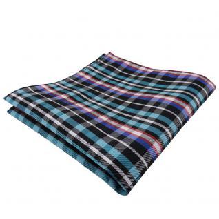 TigerTie Einstecktuch türkis orange blau schwarz silber kariert - Tuch Polyester