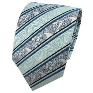 TigerTie Seidenkrawatte mint grün schwarz silber gestreift - Krawatte Seide