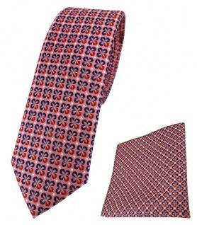 schmale TigerTie Krawatte + Einstecktuch in rot silber marine gemustert