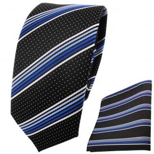 Schmale TigerTie Designer Krawatte+Einstecktuch blausilberweiss schwarzgestreift