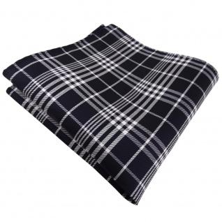 TigerTie Einstecktuch in blau schwarzblau silber weiß kariert - Tuch Polyester