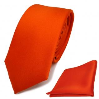schmale TigerTie Schlips Krawatte + Einstecktuch orange rotorange uni Binder