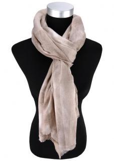 Damen Schal Halstuch grau hellgrau beige mit Fransen Gr. 185 cm x 75 cm - Tuch