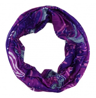 TigerTie Multifunktionstuch in lila grau weiss Paisley - Tuch Schal Schlauchtuch