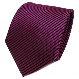 TigerTie Designer Seidenkrawatte magenta lila schwarz gestreift - Krawatte Seide