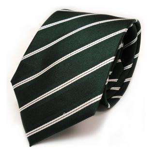 Designer Seidenkrawatte grün dunkelgrün weiss gestreift - Krawatte Seide