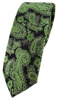 schmale TigerTie Designer Krawatte in grün schwarz silber Paisley gemustert