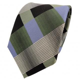 TigerTie Designer Seidenkrawatte grün blau schwarz kariert - Krawatte Seide Silk