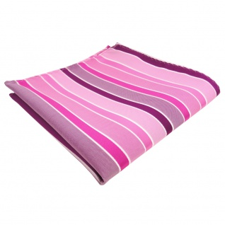schönes Einstecktuch in rosa magenta pink weiß gestreift - Tuch 100% Polyester