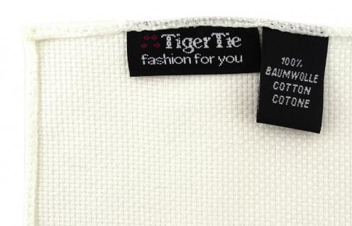 TigerTie Plastron Pique 2tlg Krawatte + Einstecktuch in creme uni gemustert - Vorschau 4