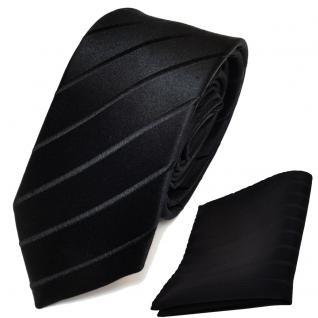 schmale Designer Seidenkrawatte + Einstecktuch in schwarz gestreift - Krawatte - Vorschau 2