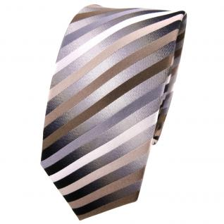 Schmale TigerTie Seidenkrawatte braun anthrazit silber gestreift - Krawatte Tie