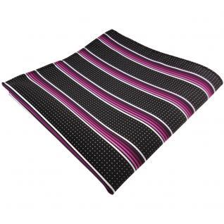 TigerTie Einstecktuch magenta rosa silberweiss schwarz gestreift -Tuch Polyester
