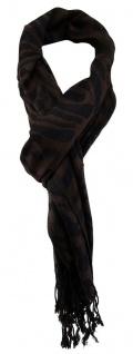 TigerTie Designer Schal in dunkelbraun schwarz gemustert - Gr. 170 x 60 cm